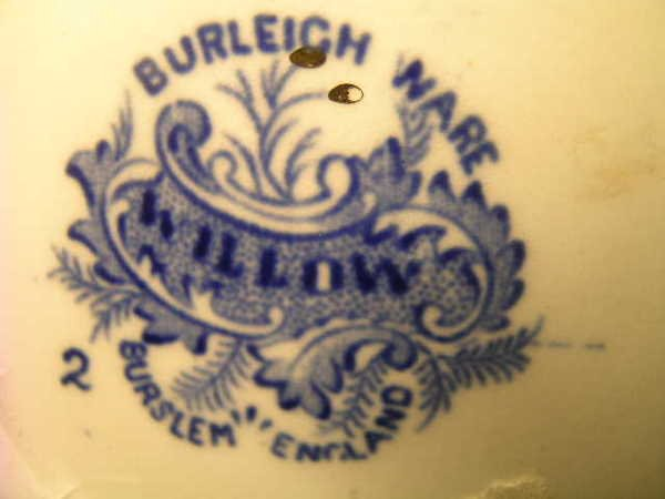 103: BURLEIGH WARE WILLOW BLUE WHITE PITCHER - 8
