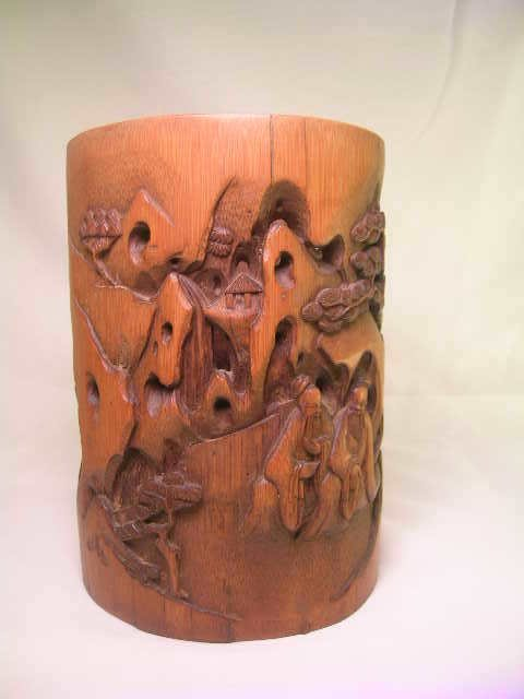 149: JAPANESE RETICULATED LARGE CARVED WOOD BRUSH POT