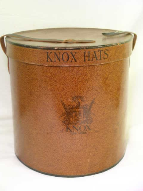 365: ANTIQUE OVAL KNOX HATS BOX WITH LEATHER STRAP
