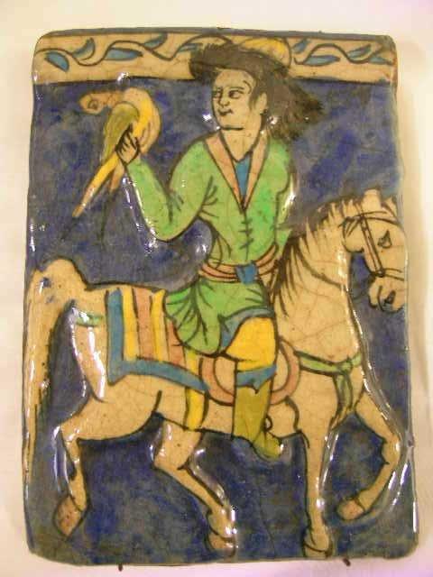 367: VINTAGE HAND PAINTED GLAZED TILE MAN HORSE LG