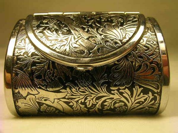 459: M F A STERLING SILVER PURSE SHAPED PILL BOX