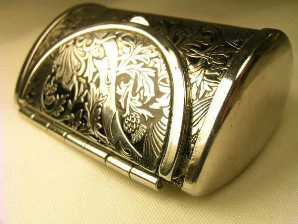 459: M F A STERLING SILVER PURSE SHAPED PILL BOX - 3