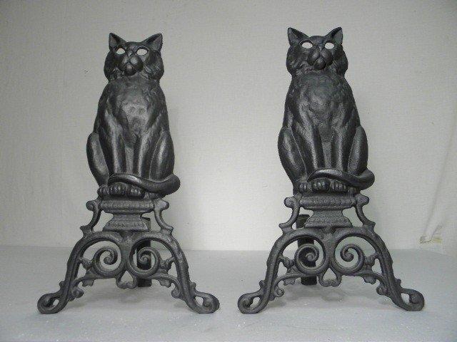3: PAIR BLACK CAST IRON FIGURAL CAT ANDIRONS