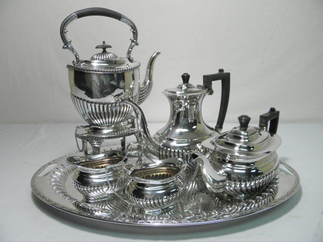 5: SHEFFIELD SILVER PLATE 6 PIECE TEA SET