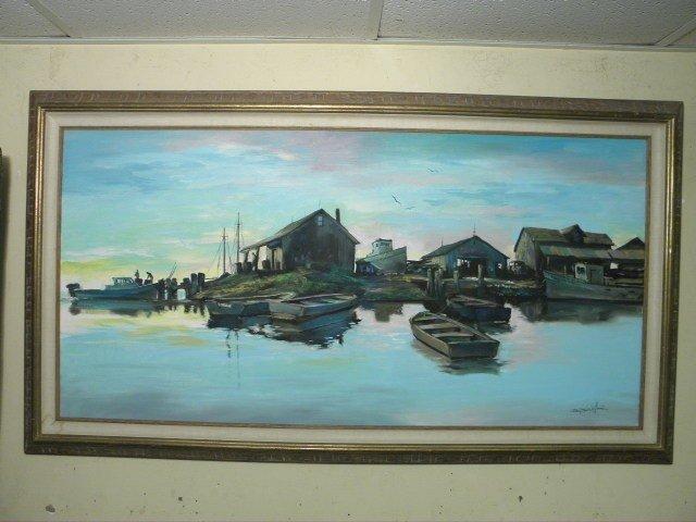 44: OIL ON CANVAS SHIPYARD PAINTING: PAUL MACWILLIAMS
