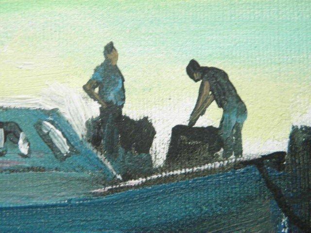 44: OIL ON CANVAS SHIPYARD PAINTING: PAUL MACWILLIAMS - 6