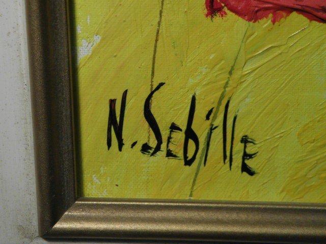 93: NICOLE SEBILLE ACRYLIC PAINTING: RED POPPY LANDSCAP - 4