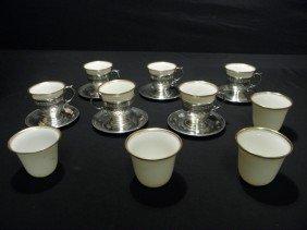 LENOX STERLING & PORCELAIN GILT DEMITASSE CUPS & S