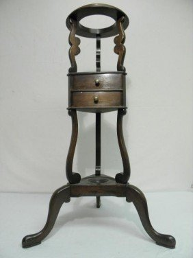 WOODEN TWO DRAWER TRIPOD PLANT STAND PEDESTAL