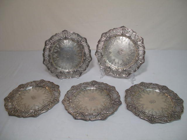 192: FIVE DOMINICK & HAFF STERLING SILVER CHARGERS