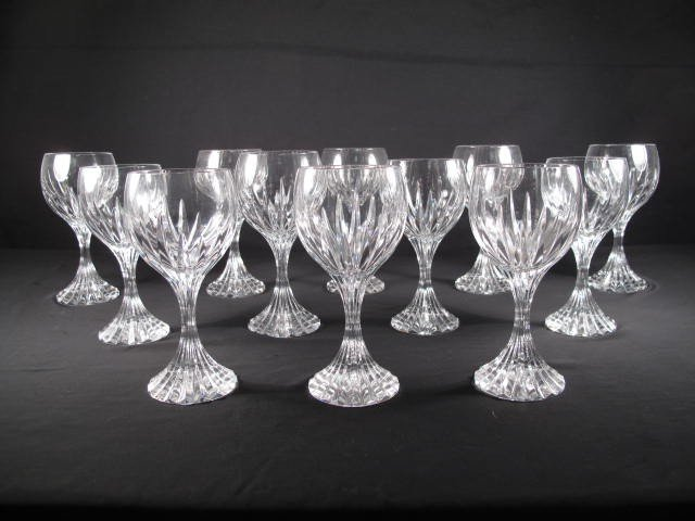 198: BACCARAT CUT CRYSTAL WINE GLASSES STEMS: MASSENA 1