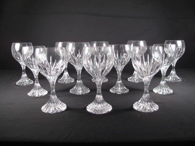 198: BACCARAT CUT CRYSTAL WINE GLASSES STEMS: MASSENA 1