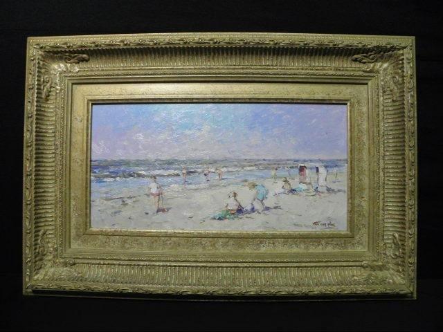 263: NIEK VAN DER PLAS PAINTING: BEACH VIEW WITH FIGURE