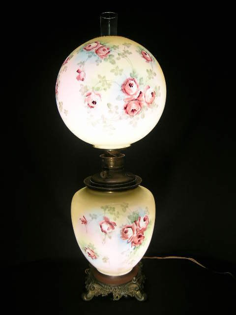 4: OLD HAND PAINTED ROSE GONE WITH WIND LAMP