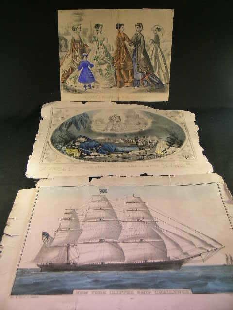 40: ANTIQUE PRINTS CURRIER & IVES CLIPPER SHIP SOLDIER