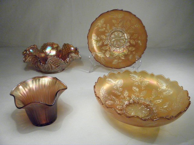 5: FOUR PIECES COLORED CARNIVAL GLASS