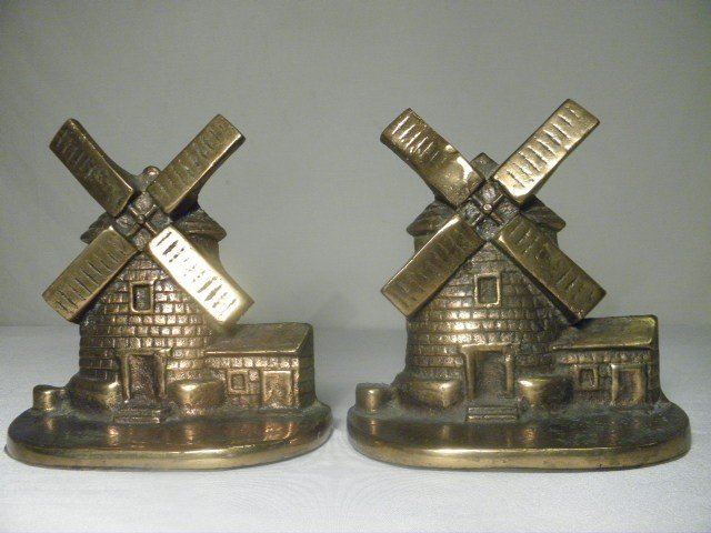 10: PAIR BRONZE FLASHED IRON WINDMILL BOOKENDS