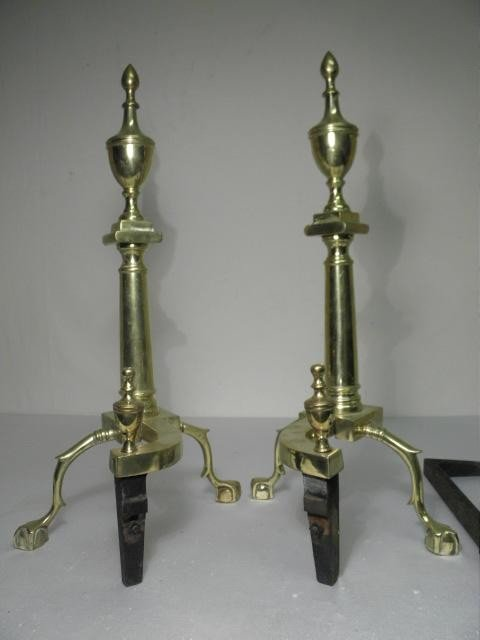 15: PAIR CHIPPENDALE STYLE BRASS BALL & CLAW ANDIRONS - 7