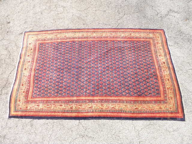 "20: ORIENTAL STYLE WOOL PILE RUG: RED AND BLUE 4'5"" x 6"