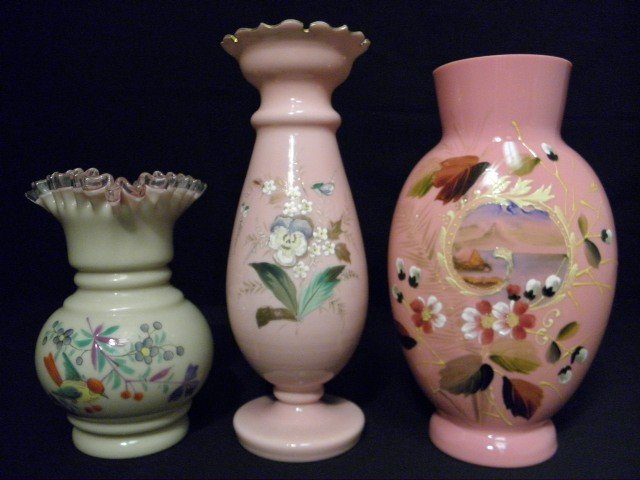 31: THREE ASSORTED ENAMELED CASED ART GLASS VASES