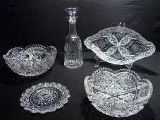 119 FIVE PIECES ASSORTED CUT CRYSTAL WATERFORD ETC