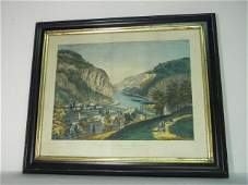 157 CURRIER  IVES HAND COLORED LITHOGRAPH VIEW OF HA
