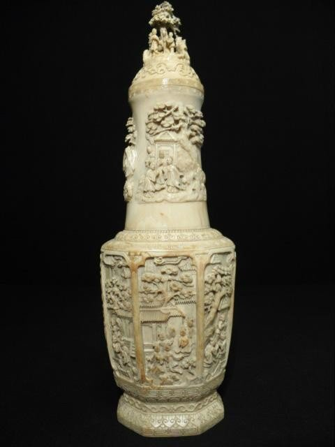 209: LARGE EARLY 20TH C CHINESE CARVED IVORY URN