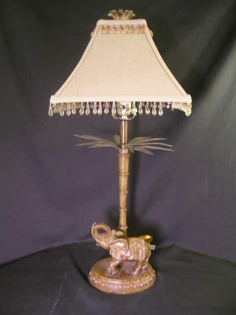 401: DECORATIVE CARVED WOODEN ELEPHANT LAMP METAL LEAF