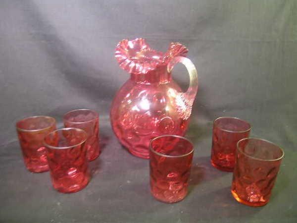 406: ANTIQUE THUMBPRINT CRANBERRY GLASS LEMONADE SET 7P