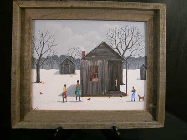 417: PAINTING ON BOARD AFRICAN AMERICAN POLLY W. SNOW S