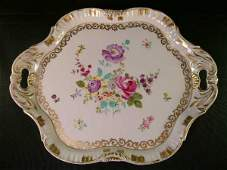 582: ANTIQUE FRENCH HAND PAINTED GILT FLORAL TRAY