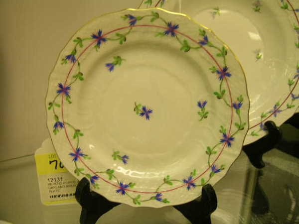 709: HEREND PORCELAIN BLUE GARLAND BREAD BUTTER PLATE