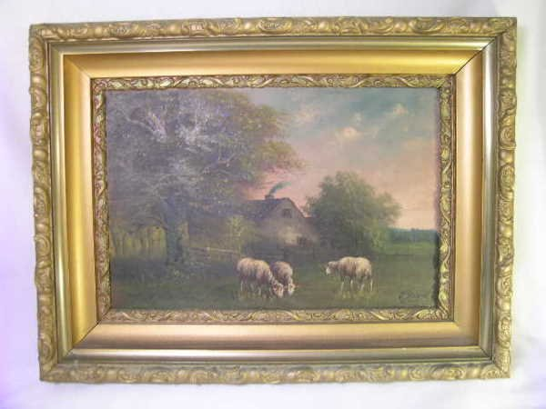 751: ANTIQUE OIL PAINTING SHEEP PASTURE SIGNED J DAVIS