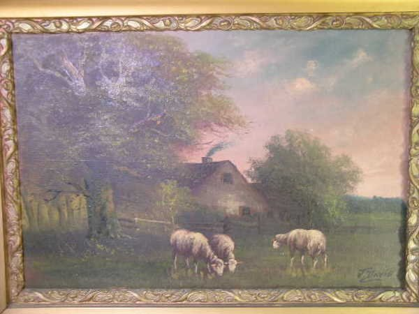 751: ANTIQUE OIL PAINTING SHEEP PASTURE SIGNED J DAVIS - 2