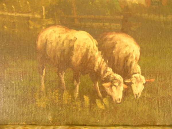 751: ANTIQUE OIL PAINTING SHEEP PASTURE SIGNED J DAVIS - 3