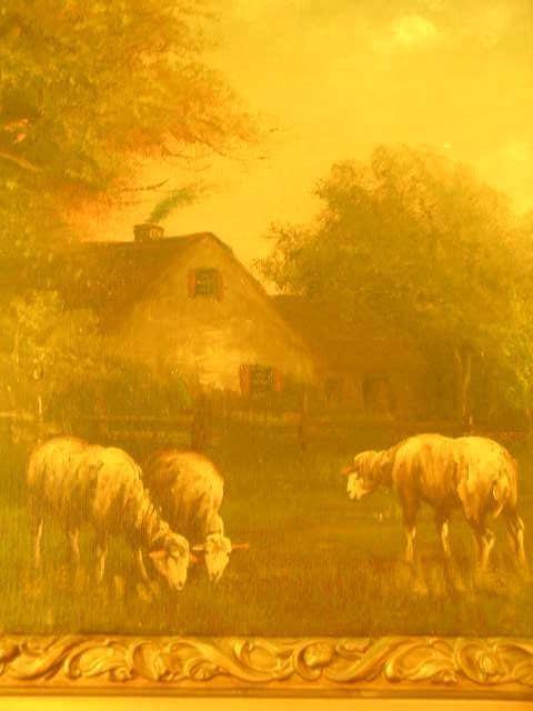 751: ANTIQUE OIL PAINTING SHEEP PASTURE SIGNED J DAVIS - 4