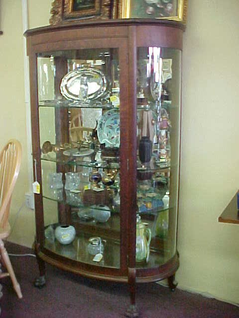 216: ANTIQUE TIGER OAK CURIO CABINET - 2