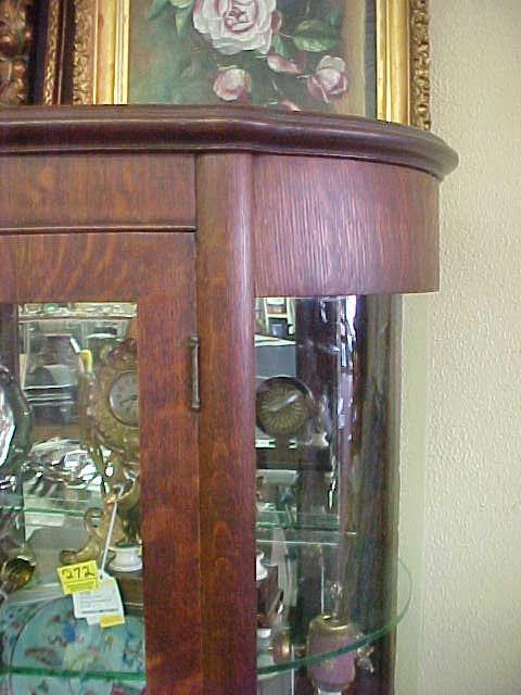 216: ANTIQUE TIGER OAK CURIO CABINET - 3