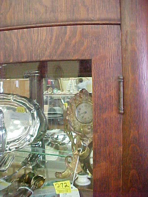 216: ANTIQUE TIGER OAK CURIO CABINET - 5