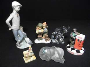 SIX ASSORTED PORCELAIN OR CRYSTAL FIGURINES