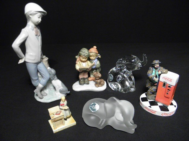 1: SIX ASSORTED PORCELAIN OR CRYSTAL FIGURINES: