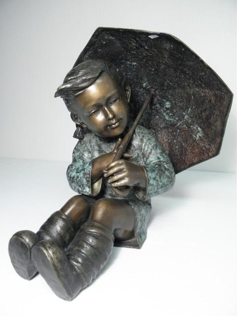 5: BRONZE SCULPTURE: UMBRELLA BOY