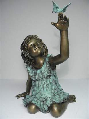 BRONZE SCULPTURE: GIRL WITH BUTTERFLY