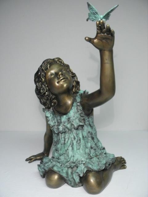 7: BRONZE SCULPTURE: GIRL WITH BUTTERFLY