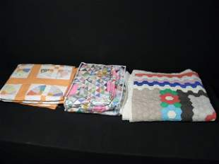 THREE 20TH C HAND MADE COLORFUL QUILTS