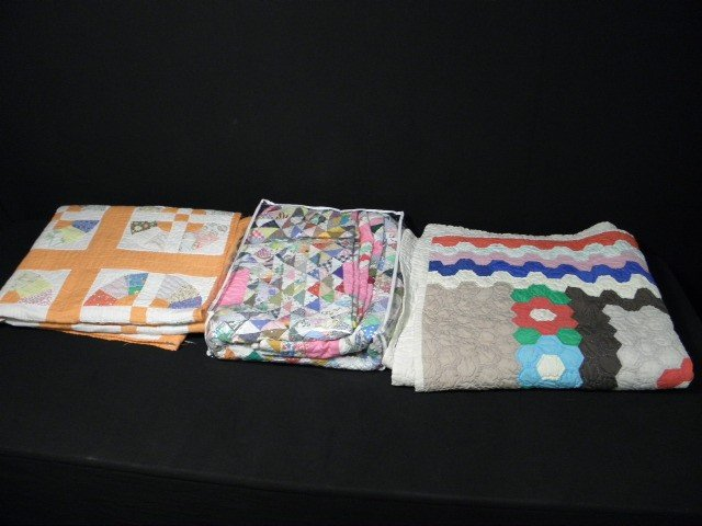22: THREE 20TH C HAND MADE COLORFUL QUILTS