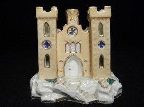 STAFFORDSHIRE PORCELAIN CHURCH PASTILLE BURNER OR P