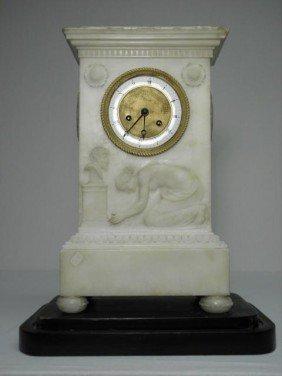 EUROPEAN WHITE MARBLE EMPIRE MANTLE CLOCK