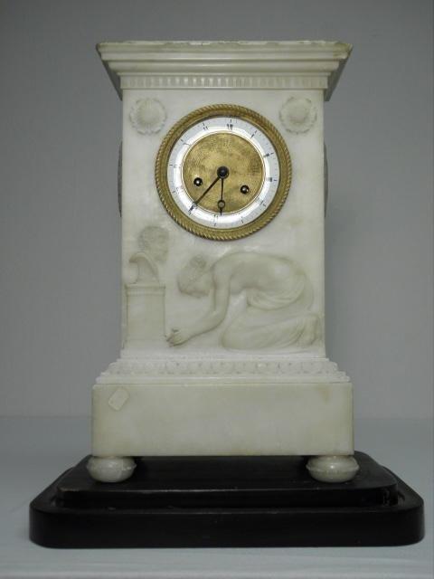 75: EUROPEAN WHITE MARBLE EMPIRE MANTLE CLOCK