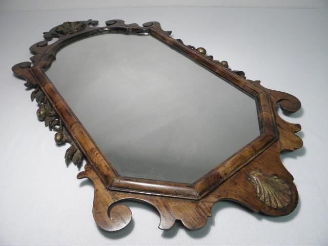 79: CHIPPENDALE STYLE CARVED WOOD WALL MIRROR